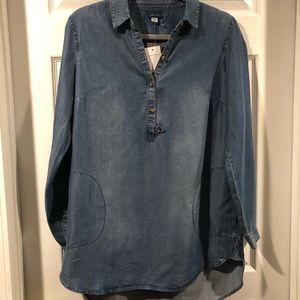 J Jill high low tunic blue denim Bristol tunic